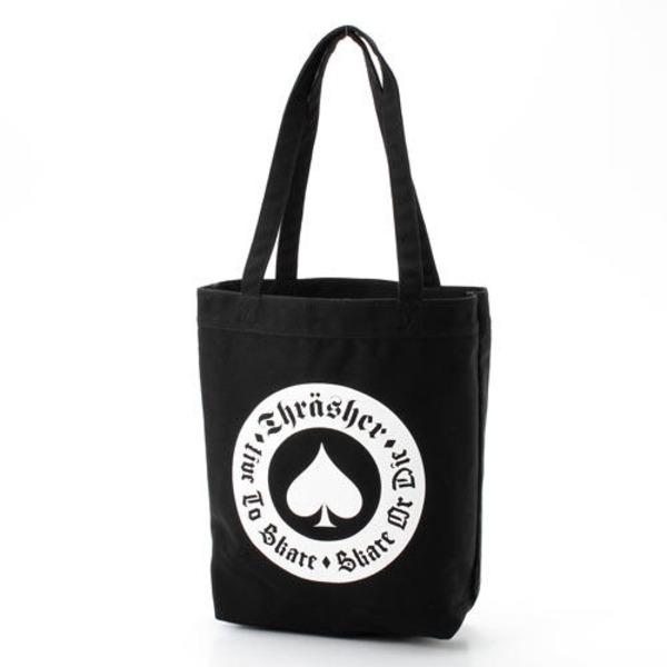 「THRASHER」綿キャンパス帆布製トートバッグブラック×アースf00