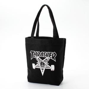 「THRASHER」綿キャンパス帆布製トートバックブラック×スケートゴート h01