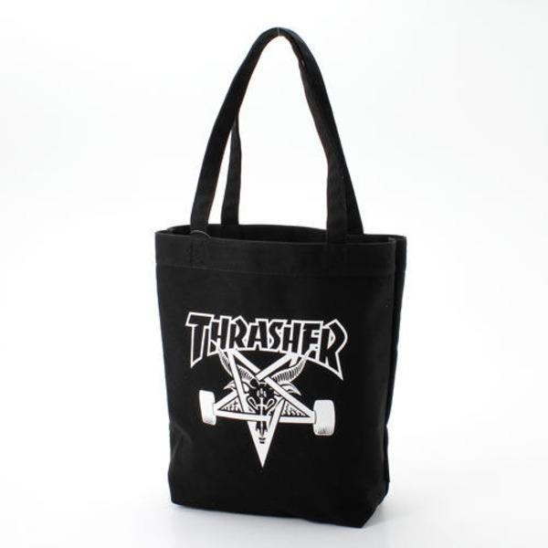 「THRASHER」綿キャンパス帆布製トートバックブラック×スケートゴートf00