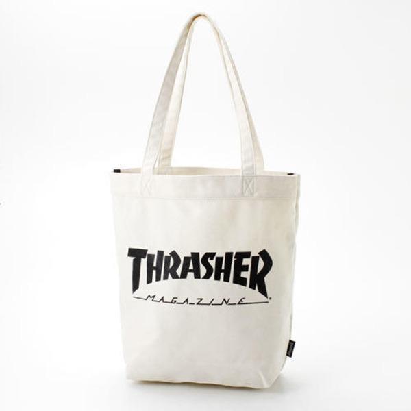 「THRASHER」綿キャンパス帆布製トートバックアイボリー×マグロゴf00