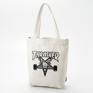 「THRASHER」綿キャンパス帆布製トートバッグアイボリー×スケートゴート h01