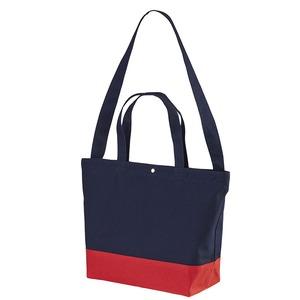 帆布製綿キャンパスコットンスイッチングトートバッグ2WAY ネイビー/フレンチ レッド