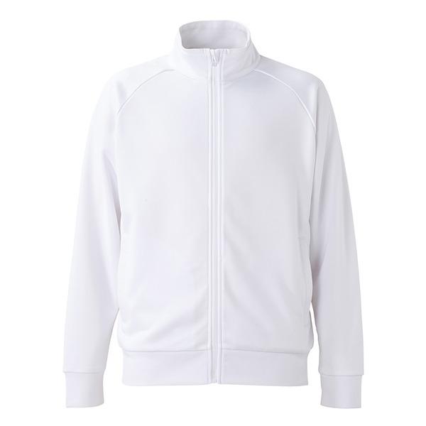 UVカット・吸汗速乾・ドライジャージパイルフルジップラグランスリーブジャケット ホワイト Lf00