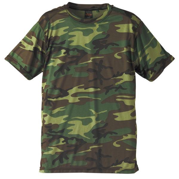 自衛隊海外派遣使用・立体裁断・吸汗速乾さらさらドライ 迷彩 Tシャツ ウッドランド M