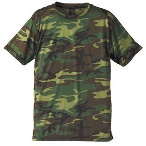 自衛隊海外派遣使用・立体裁断・吸汗速乾さらさらドライ 迷彩 Tシャツ ウッドランド L - 拡大画像