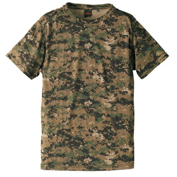 自衛隊海外派遣使用・立体裁断・吸汗速乾さらさらドライ 迷彩 Tシャツ ピクセルウッドランド Lf00