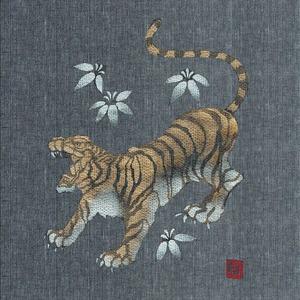 金虎の手書き絵・しじら織甚平 濃灰 L f04