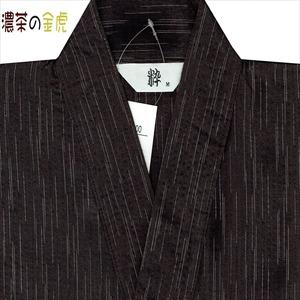 風神雷神の手書き絵・しじら織甚平 キングサイズ濃茶3L