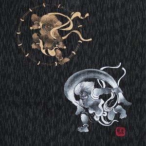 風神雷神の手書き絵・しじら織甚平 キングサイズ黒3L