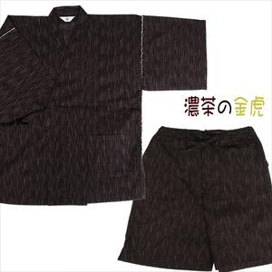 金虎の手書き絵・しじら織甚平 濃茶 L