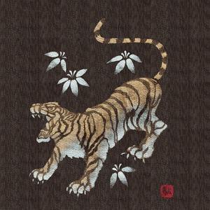 金虎の手書き絵・しじら織甚平 濃茶 LL