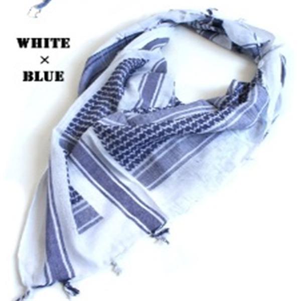 綿100%アラブスカーデッドストック ・ ホワイト×ブルーf00