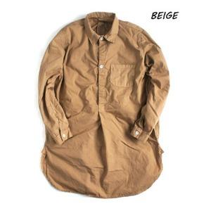 スウェーデン軍放出 プルオーバースリーピングシャツ後染め未使用デットストックベージュ40(メンズフリー相当)