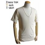 フランス軍 Vネック Tシャツレプリカ ホワイト(生成り) 7( M)