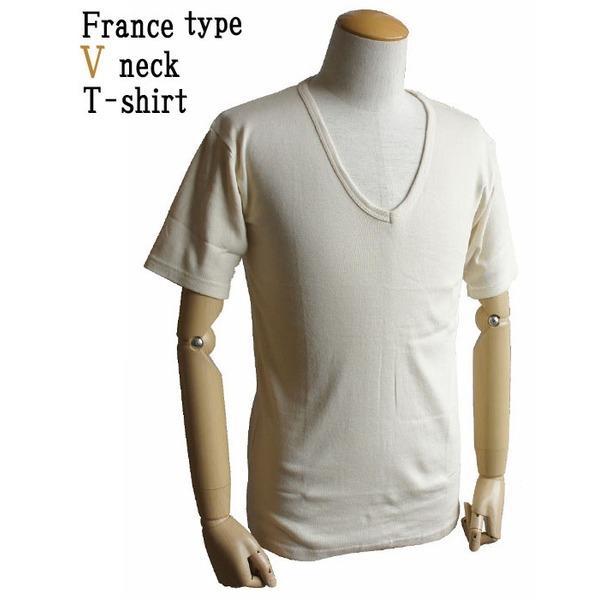 フランス軍 Vネック Tシャツレプリカ ホワイト(生成り) 9( L)