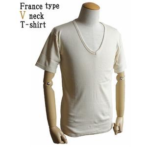 フランス軍 Vネック Tシャツレプリカ ブラック 後染め9( L)
