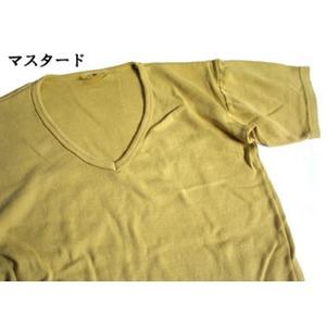 フランス軍VネックTシャツレプリカ  後染めマスタード7(M)