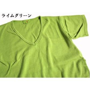 フランス軍VネックTシャツレプリカ  後染めライムグリーン7(M)