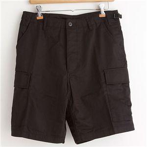 アメリカ軍 BDU カーゴショートパンツ /迷彩服パンツ 【 Lサイズ 】 リップストップ ブラック 【 レプリカ 】