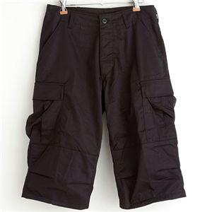 アメリカ軍 BDU クロップドカーゴパンツ /迷彩服パンツ 【 Lサイズ 】 リップストップ ブラック 【 レプリカ 】