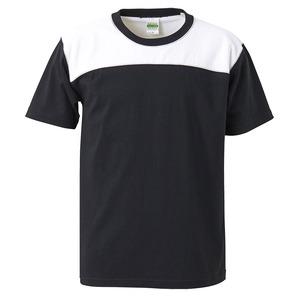 7.1オンスUSコットンオープンエンドヤーン フットボール Tシャツ ブラック/ホワイト XL h01