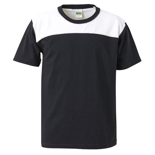 7.1オンスUSコットンオープンエンドヤーン フットボール Tシャツ ブラック/ホワイト XLf00