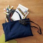 容量に応じて大きさが変えられる帆布製綿キャンパスコットン2WAYトートバッグ ネイビー