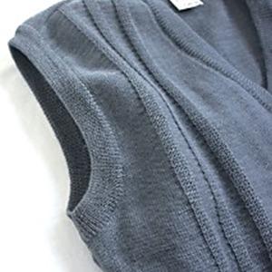 チェコ軍放出 ウールVネツクベストセーター ブルー グレー未使用デットストック 《48-50( M相当)》