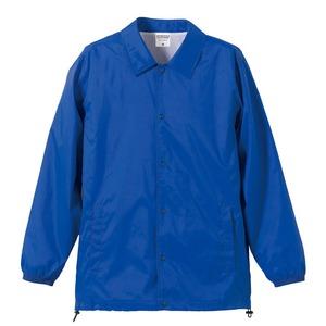 撥水防風加工裏地起毛付コーチジャケット ブルー L h01