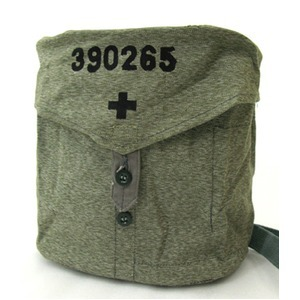 BS070UN-315007スイス軍放出 ガスマスクショルダーバッグ ソルト&ペッパー柄【中古】