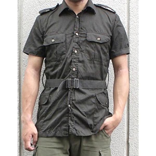 イタリア軍放出 サファリーシャツ  《 S〜M相当》 中古 ブラック染め