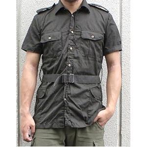 イタリア軍放出 サファリーシャツ  《 M〜L相当》 【中古】 ブラック染め