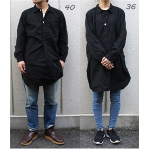 スウェーデン軍プルオーバースリーピングシャツ後染めレプリカ ブラック《36(レディースフリー相当》 - 拡大画像
