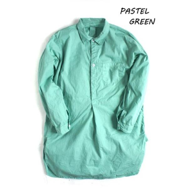 スウェーデン軍プルオーバースリーピングシャツ後染めレプリカ パステルグリーン《36(レディースフリー相当)》