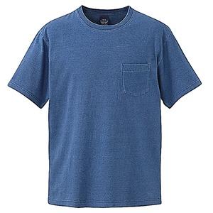 5.3オンス インディゴ染めTシャツポケット付 ライトインディゴ S
