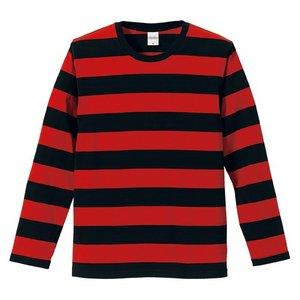 ボールドボーダーロングスリーブ Tシャツ CB5519 ブラック & レッド S