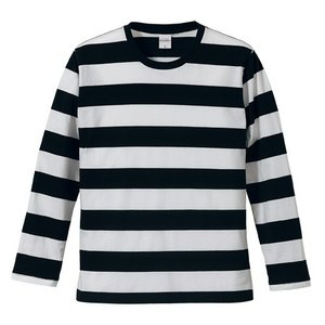ボールドボーダーロングスリーブ Tシャツ CB5519 ブラック & ホワイト S