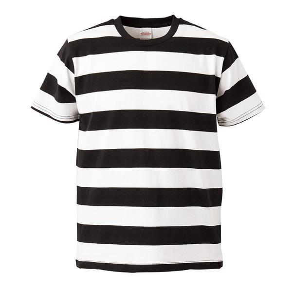 ボールドボーダーショートスリーブTシャツ ブラック&ホワイト Mf00