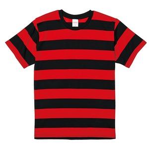 ボールドボーダーショートスリーブTシャツ ブラック&レッド Lの画像1