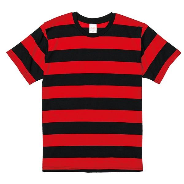 ボールドボーダーショートスリーブTシャツ ブラック&レッド Lf00