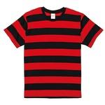 ボールドボーダーショートスリーブTシャツ ブラック&レッド Mの画像