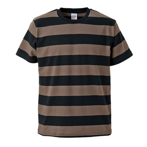 ボールドボーダーショートスリーブTシャツ ブラック&チャコール Sの画像1