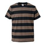 ボールドボーダーショートスリーブTシャツ ブラック&チャコール Lの画像