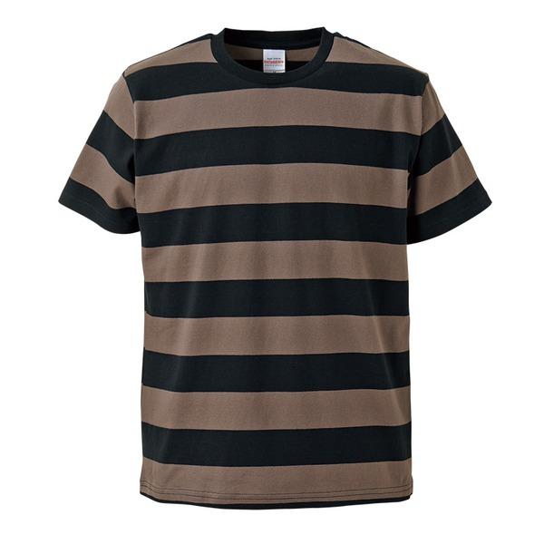 ボールドボーダーショートスリーブTシャツ ブラック&チャコール Lf00