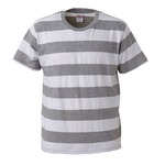 ボールドボーダーショートスリーブTシャツ ヘザーグレー&ホワイト Lの画像