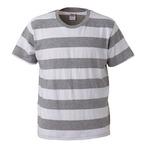 ボールドボーダーショートスリーブTシャツ ヘザーグレー&ホワイト Mの画像