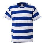 ボールドボーダーショートスリーブTシャツ ロイヤルブルー&ホワイト Lの画像