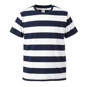 ボールドボーダーショートスリーブTシャツ ネイビー&ホワイト Lの画像1