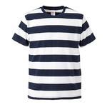 ボールドボーダーショートスリーブTシャツ ネイビー&ホワイト Lの画像