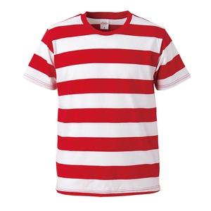 ボールドボーダーショートスリーブTシャツ レッド&ホワイ ト Lの画像1